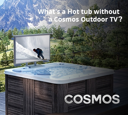 Cosmos Outdoor TV installed in a hot tub