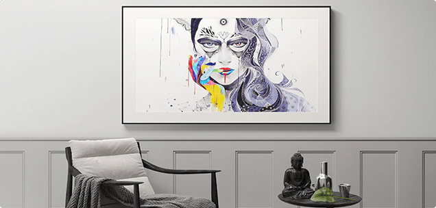 Gallery frame, picture frame, and smart tv in one.